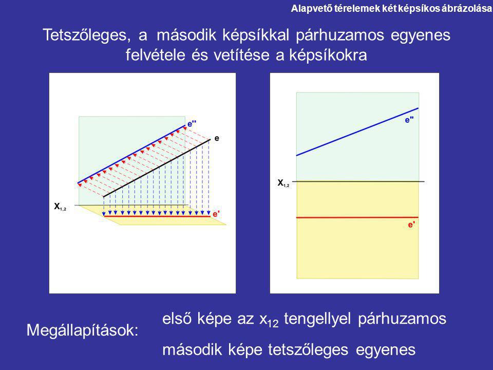 második képe tetszőleges egyenes első képe az x 12 tengellyel párhuzamos Megállapítások: Alapvető térelemek két képsíkos ábrázolása Tetszőleges, a más