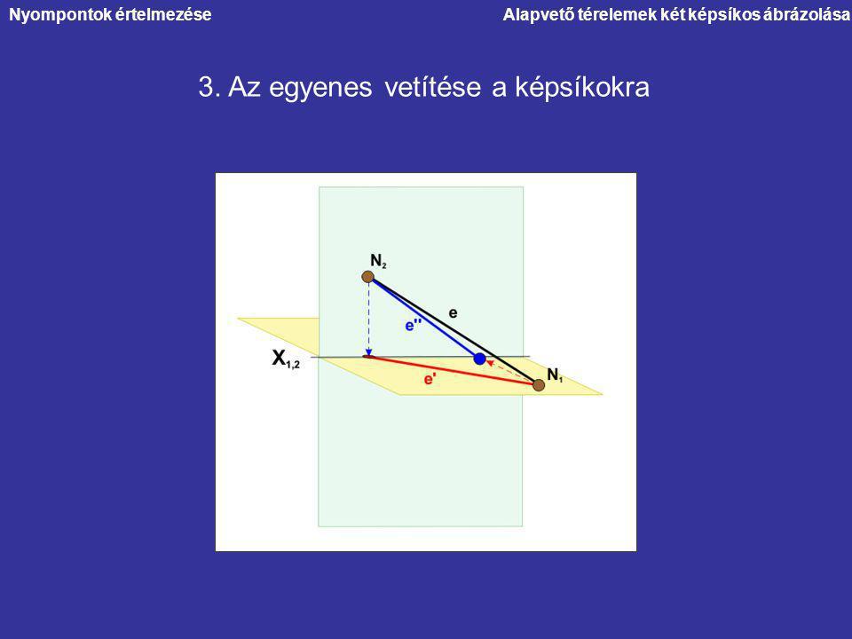 Alapvető térelemek két képsíkos ábrázolásaNyompontok értelmezése 3. Az egyenes vetítése a képsíkokra