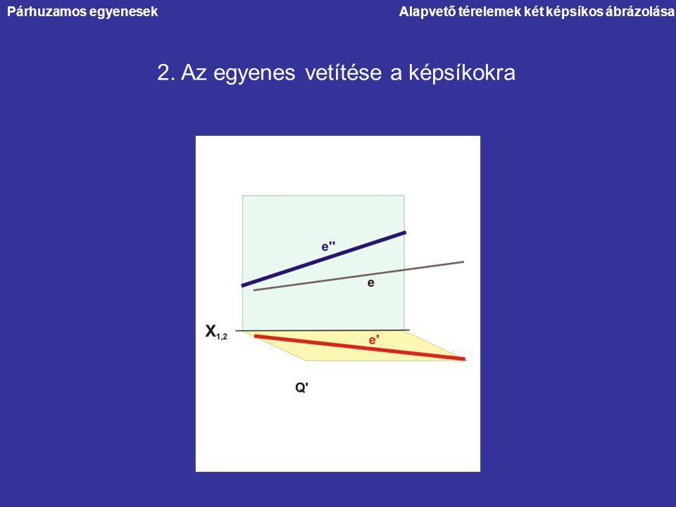 Alapvető térelemek két képsíkos ábrázolása 2. Az egyenes vetítése a képsíkokra Párhuzamos egyenesek