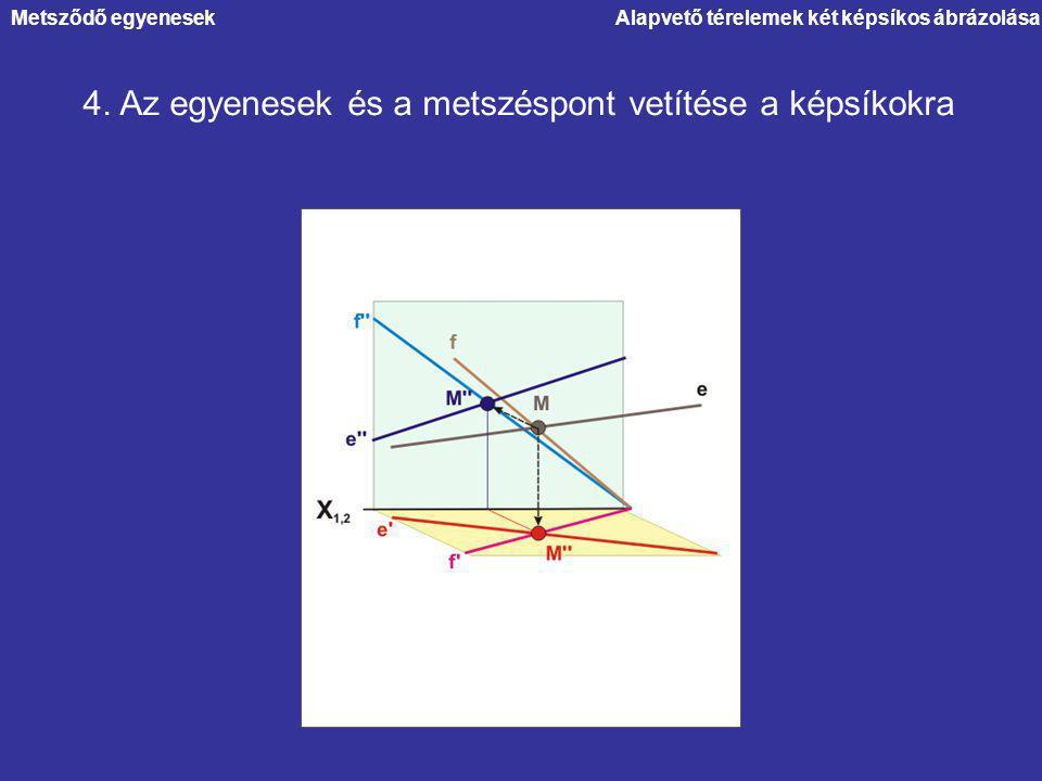 Alapvető térelemek két képsíkos ábrázolása 4. Az egyenesek és a metszéspont vetítése a képsíkokra Metsződő egyenesek