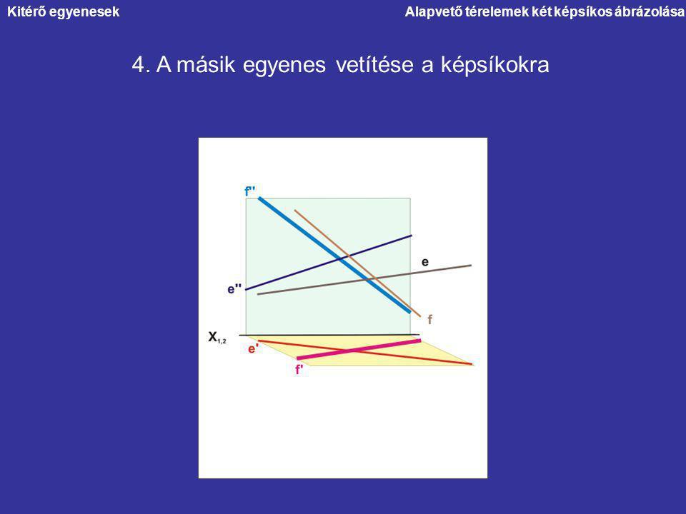 Alapvető térelemek két képsíkos ábrázolása 4. A másik egyenes vetítése a képsíkokra Kitérő egyenesek