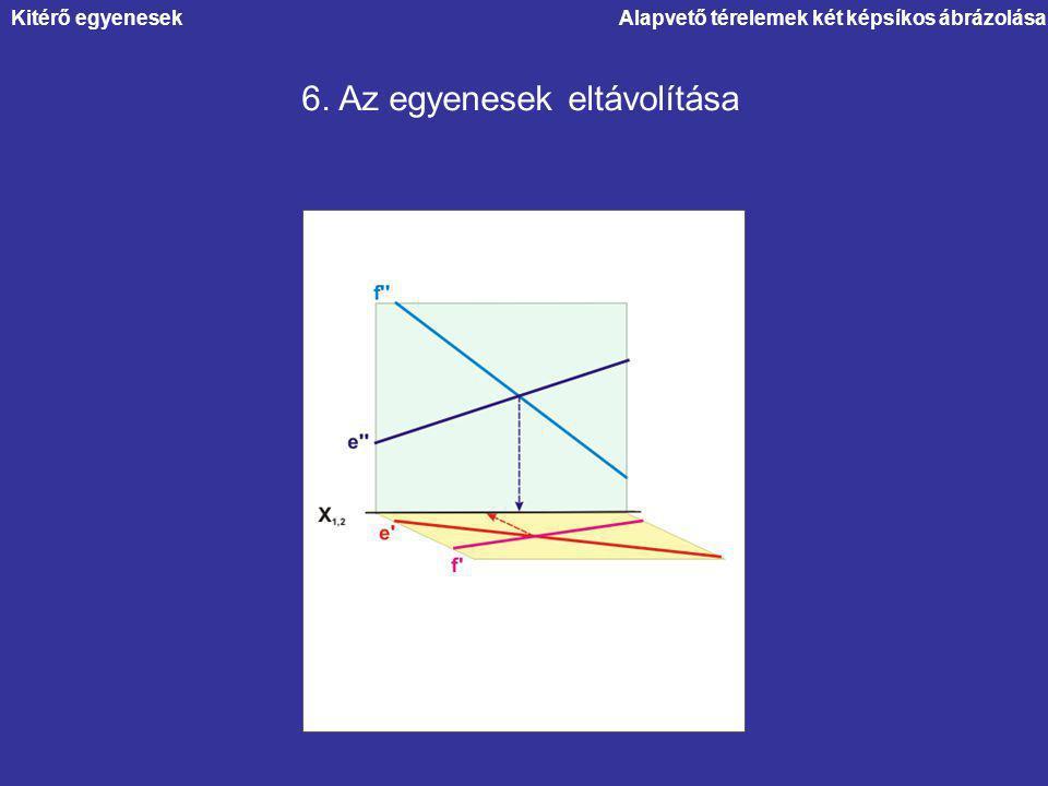 Alapvető térelemek két képsíkos ábrázolása 6. Az egyenesek eltávolítása Kitérő egyenesek