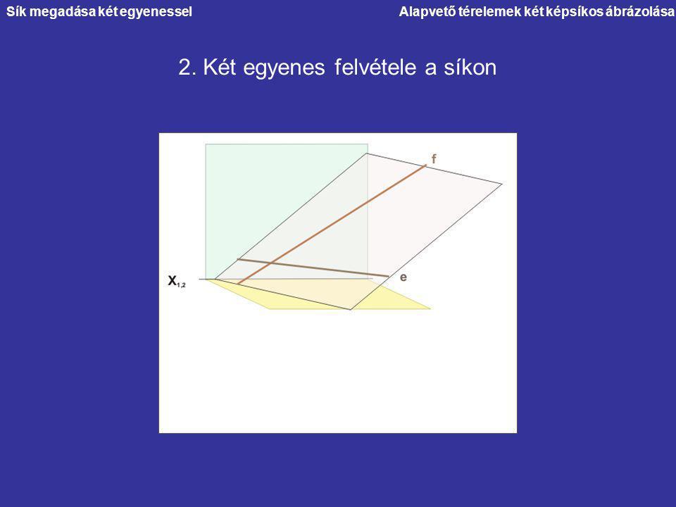 Alapvető térelemek két képsíkos ábrázolása 2. Két egyenes felvétele a síkon Sík megadása két egyenessel