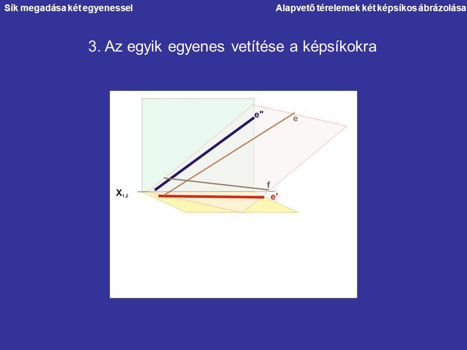 Alapvető térelemek két képsíkos ábrázolása 3. Az egyik egyenes vetítése a képsíkokra Sík megadása két egyenessel