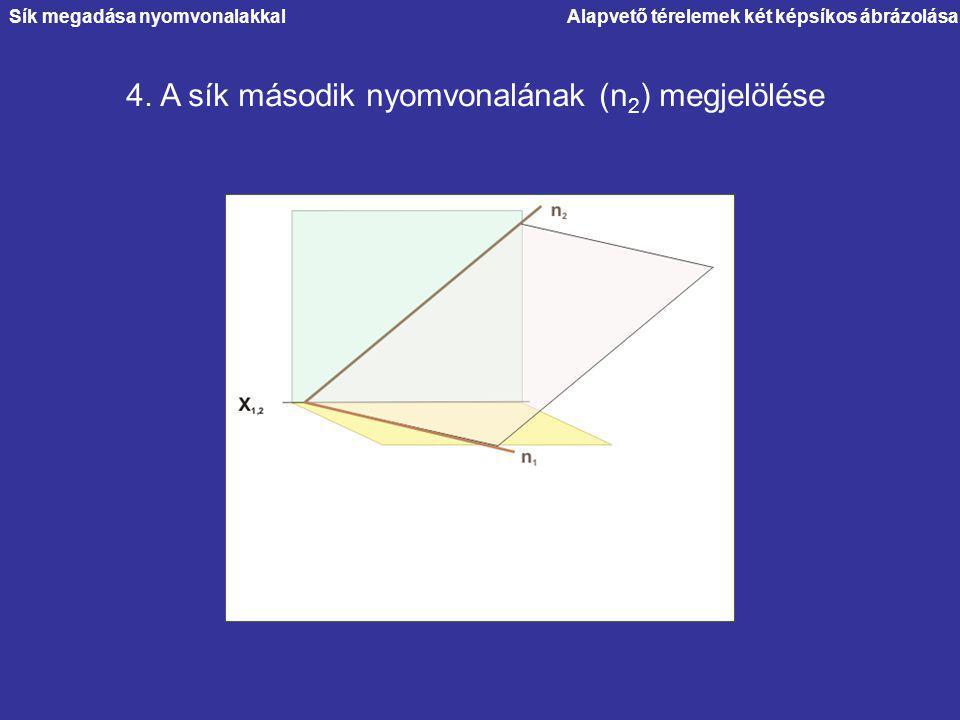 Alapvető térelemek két képsíkos ábrázolása 4. A sík második nyomvonalának (n 2 ) megjelölése Sík megadása nyomvonalakkal