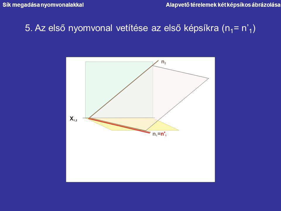 Alapvető térelemek két képsíkos ábrázolása 5. Az első nyomvonal vetítése az első képsíkra (n 1 = n' 1 ) Sík megadása nyomvonalakkal