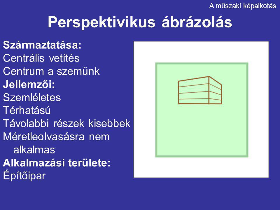 Perspektivikus ábrázolás Származtatása: Centrális vetítés Centrum a szemünk Jellemzői: Szemléletes Térhatású Távolabbi részek kisebbek Méretleolvasásr
