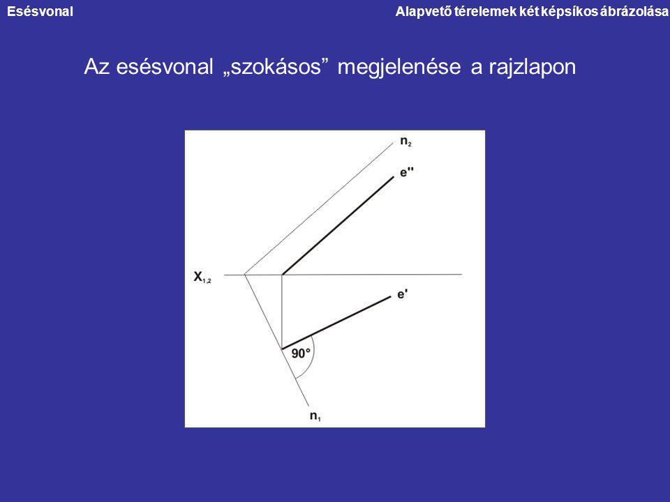 """Alapvető térelemek két képsíkos ábrázolása Az esésvonal """"szokásos"""" megjelenése a rajzlapon Esésvonal"""