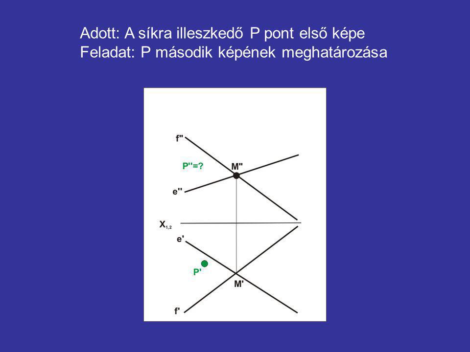 Adott: A síkra illeszkedő P pont első képe Feladat: P második képének meghatározása