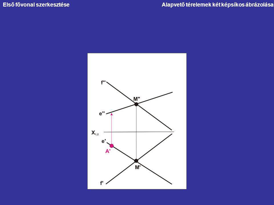 Alapvető térelemek két képsíkos ábrázolásaElső fővonal szerkesztése