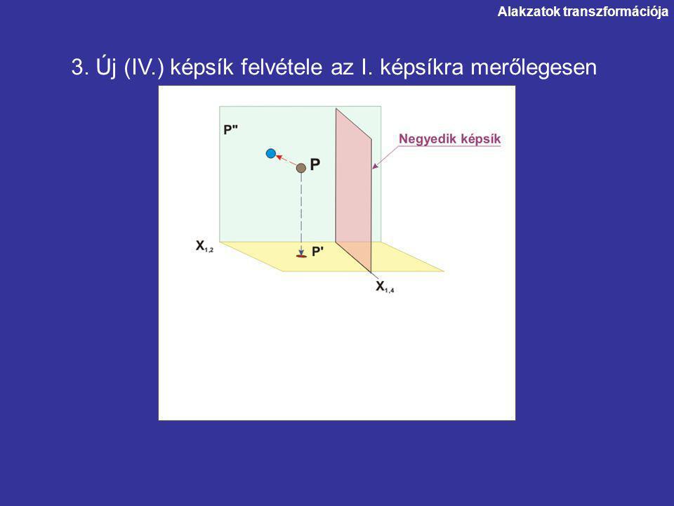 Alakzatok transzformációja 3. Új (IV.) képsík felvétele az I. képsíkra merőlegesen