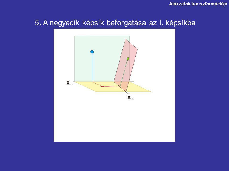 Alakzatok transzformációja 5. A negyedik képsík beforgatása az I. képsíkba