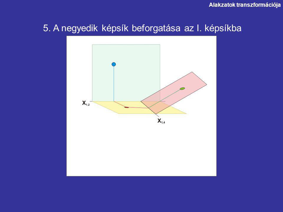 Alakzatok transzformációja.5. A negyedik képsík beforgatása az I. képsíkba