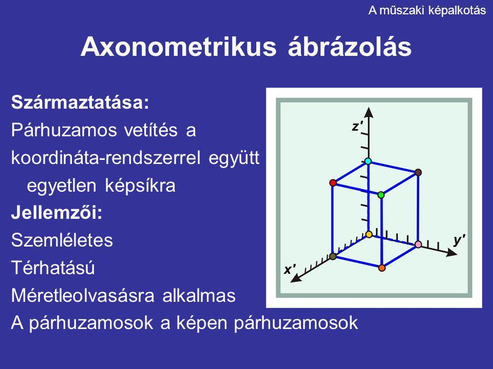 Axonometrikus ábrázolás Származtatása: Párhuzamos vetítés a koordináta-rendszerrel együtt egyetlen képsíkra Jellemzői: Szemléletes Térhatású Méretleol