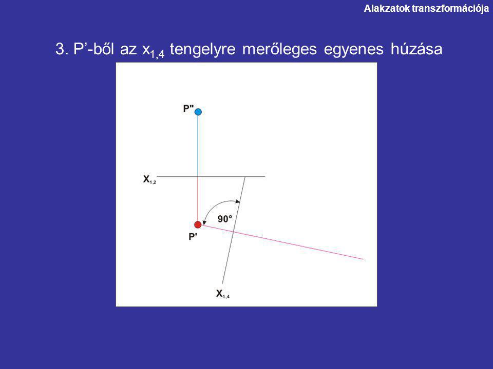 Alakzatok transzformációja 3. P'-ből az x 1,4 tengelyre merőleges egyenes húzása