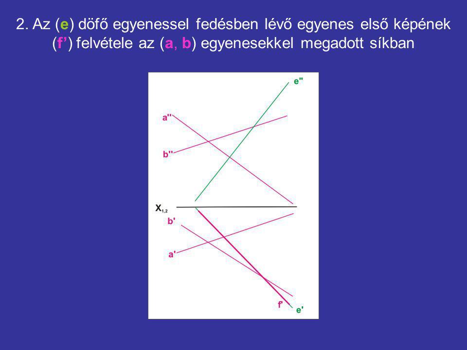 2. Az (e) döfő egyenessel fedésben lévő egyenes első képének (f') felvétele az (a, b) egyenesekkel megadott síkban