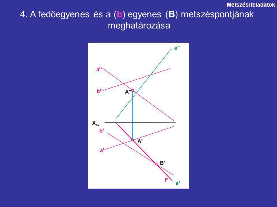 Metszési feladatok 4. A fedőegyenes és a (b) egyenes (B) metszéspontjának meghatározása