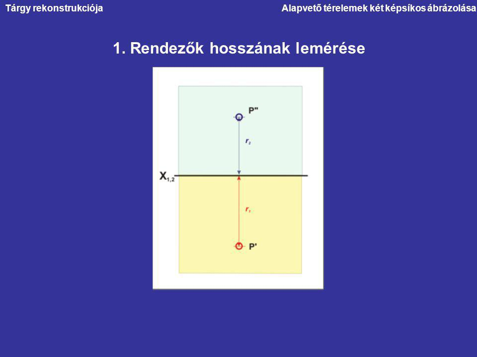 1. Rendezők hosszának lemérése Alapvető térelemek két képsíkos ábrázolásaTárgy rekonstrukciója