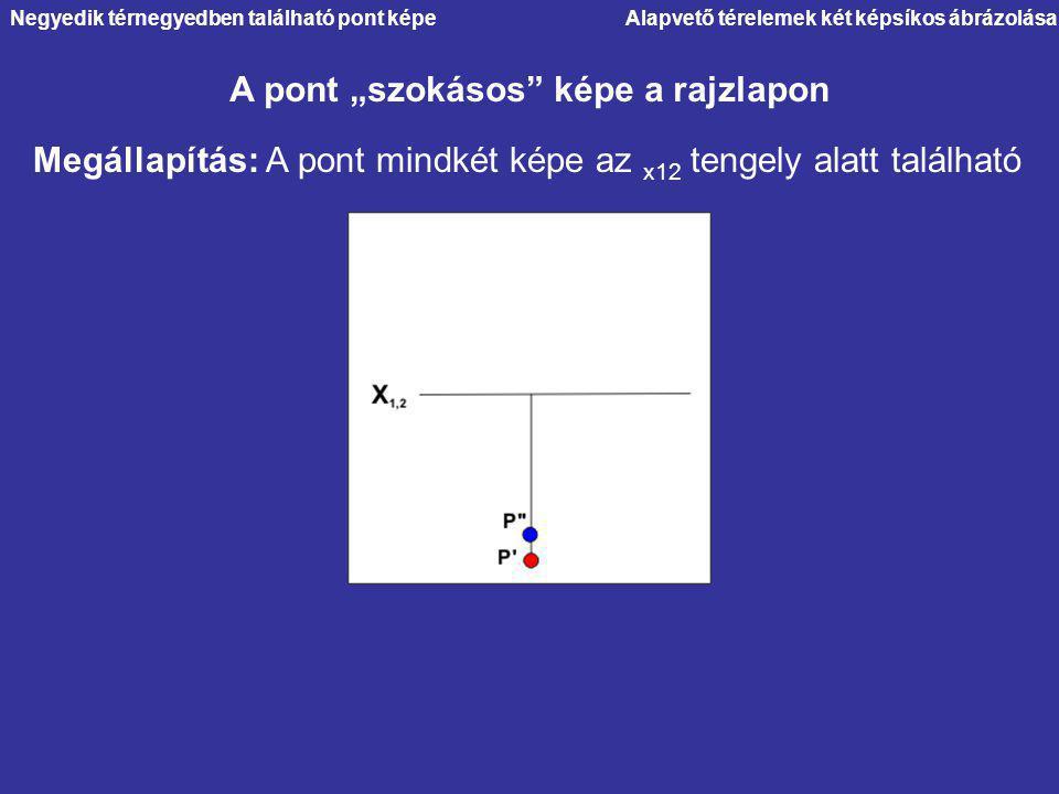 """Alapvető térelemek két képsíkos ábrázolása A pont """"szokásos"""" képe a rajzlapon Negyedik térnegyedben található pont képe Megállapítás: A pont mindkét k"""