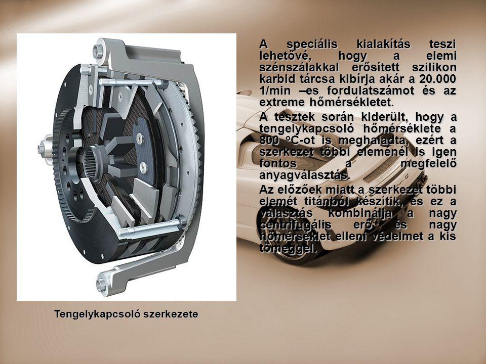 A speciális kialakítás teszi lehetővé, hogy a elemi szénszálakkal erősített szilikon karbid tárcsa kibírja akár a 20.000 1/min –es fordulatszámot és a