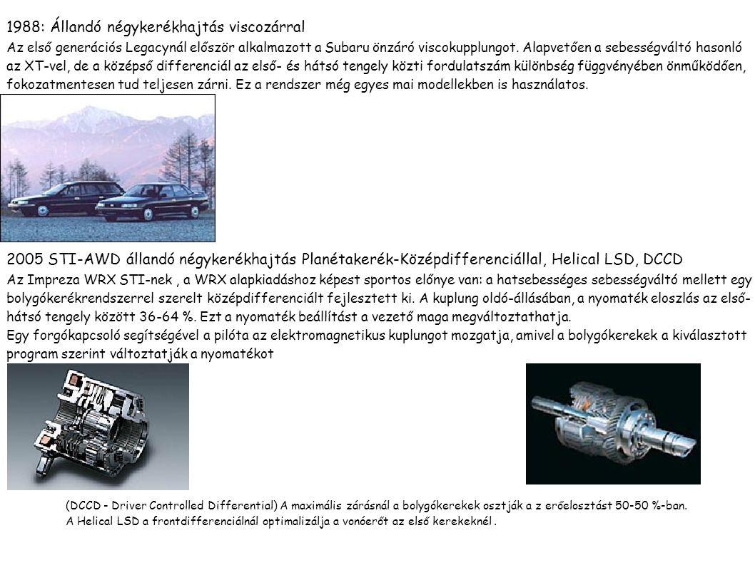 Automata váltó 1981: Automata többtárcsás erőátvitel-4WD A MultiPlateTransfer -4WD (MP-T) kihasználja az automata sebességváltó hidraulikus nyomását és kombinálja az automatát az összkerékhajtással, amelyet útközben egyszerű gombnyomásra kapcsolhatunk.