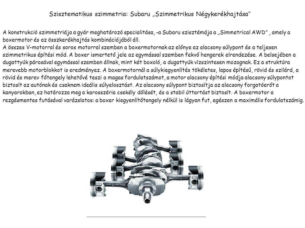 """Szisztematikus szimmetria: Subaru """"Szimmetrikus Négykerékhajtása A konstrukció szimmetriája a gyár meghatározó specialitása, -a Subaru szisztémája a """"Simmetrical AWD , amely a boxermotor és az összkerékhajtás kombinációjából áll."""
