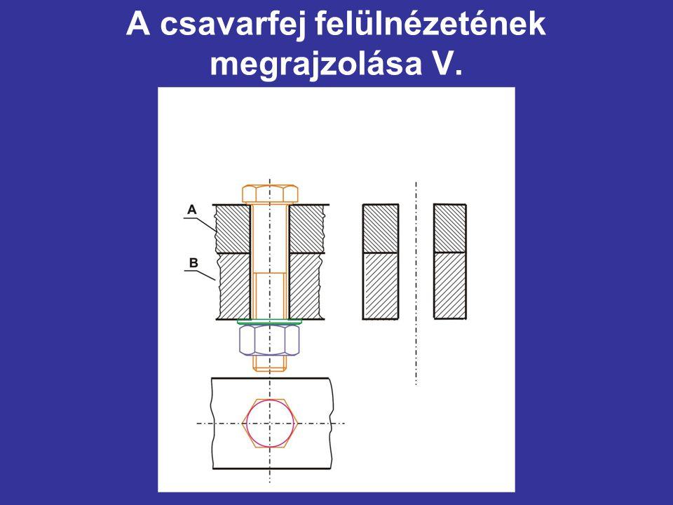 A csavarfej felülnézetének megrajzolása V.