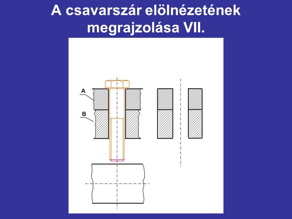 A csavarszár elölnézetének megrajzolása VII.