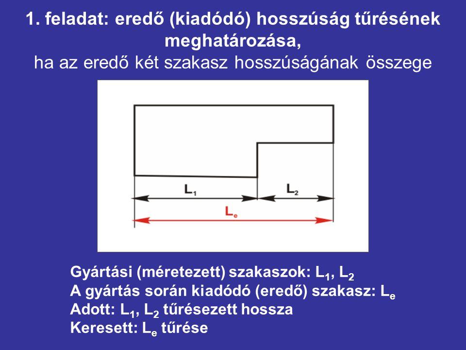 1. feladat: eredő (kiadódó) hosszúság tűrésének meghatározása, ha az eredő két szakasz hosszúságának összege Gyártási (méretezett) szakaszok: L 1, L 2