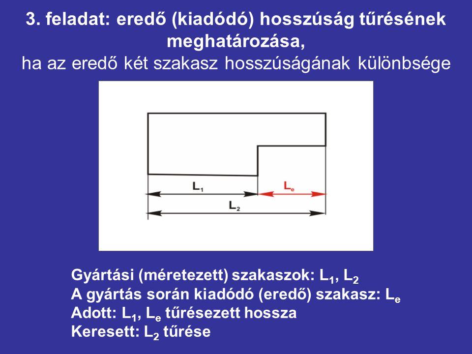 3. feladat: eredő (kiadódó) hosszúság tűrésének meghatározása, ha az eredő két szakasz hosszúságának különbsége Gyártási (méretezett) szakaszok: L 1,
