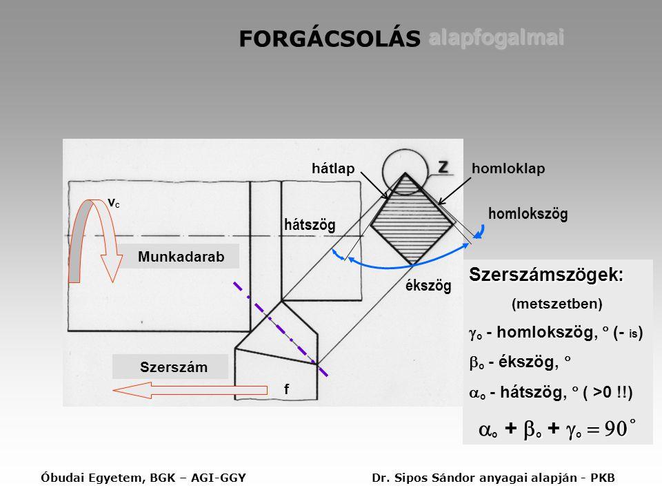 FORGÁCSOLÁS alapfogalmai Szerszámszögek: (metszetben)  o - homlokszög,  (- is )  o - ékszög,   o - hátszög,  ( >0 !!)  o  o    o +  o +  o    Munkadarab Szerszám vcvc f hátlaphomloklap ékszög hátszög homlokszög Óbudai Egyetem, BGK – AGI-GGYDr.