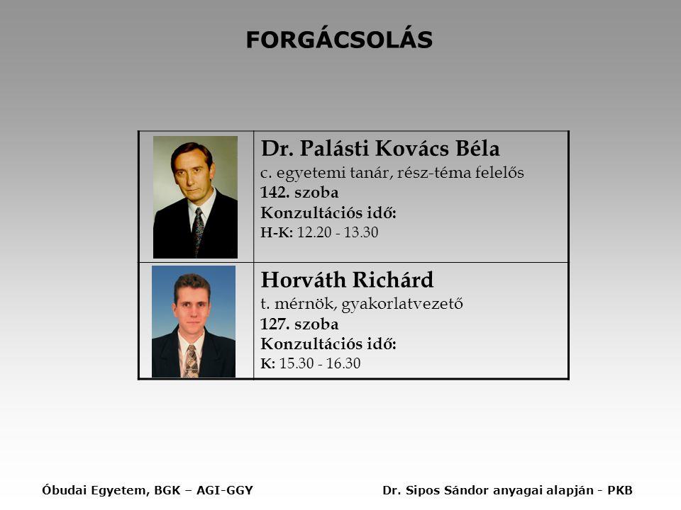 Dr. Palásti Kovács Béla c. egyetemi tanár, rész-téma felelős 142. szoba Konzultációs idő: H-K: 12.20 - 13.30 Horváth Richárd t. mérnök, gyakorlatvezet