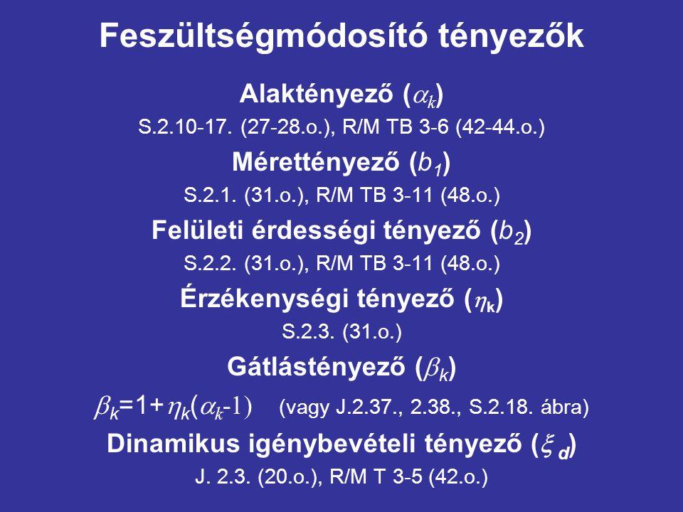 Feszültségmódosító tényezők Alaktényező (  k ) S.2.10-17. (27-28.o.), R/M TB 3-6 (42-44.o.) Mérettényező (b 1 ) S.2.1. (31.o.), R/M TB 3-11 (48.o.) F