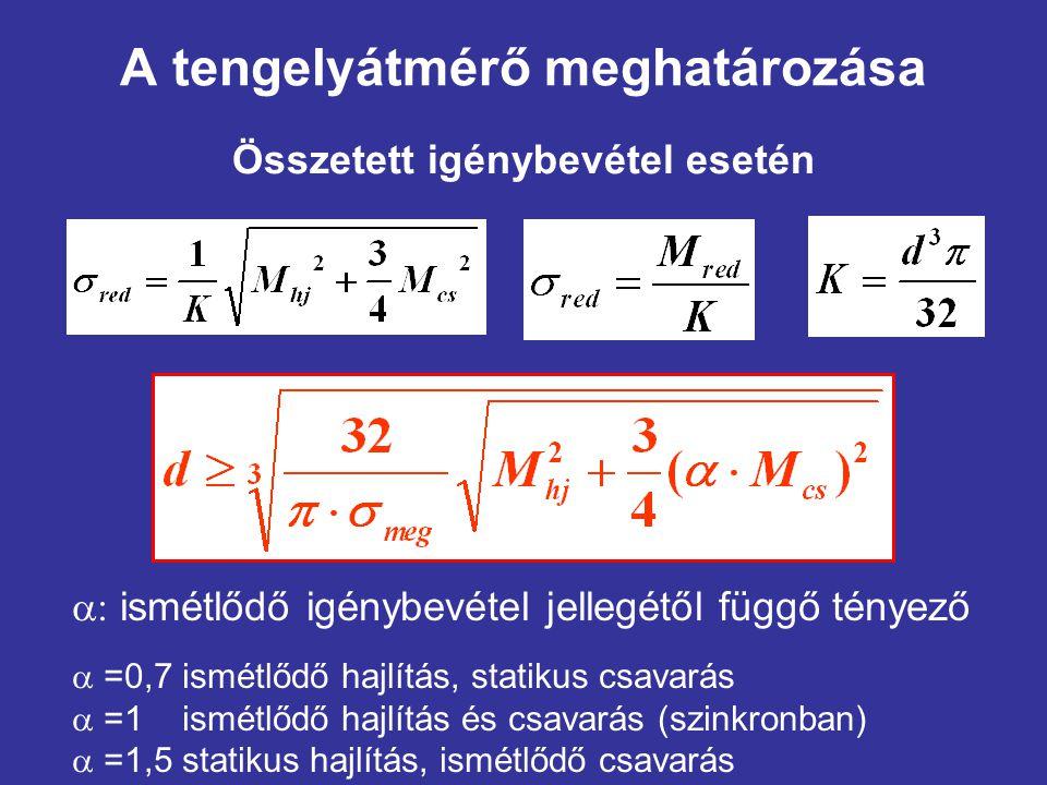 A tengelyátmérő meghatározása Összetett igénybevétel esetén  ismétlődő igénybevétel jellegétől függő tényező  =0,7 ismétlődő hajlítás, statikus csa