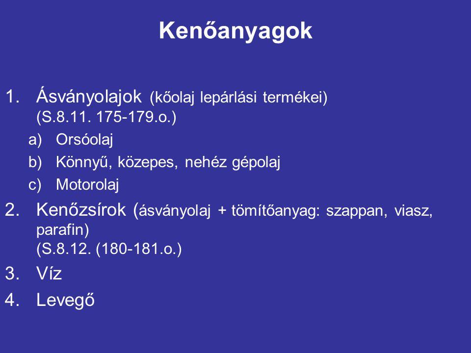 Kenőanyagok 1.Ásványolajok (kőolaj lepárlási termékei) (S.8.11. 175-179.o.) a)Orsóolaj b)Könnyű, közepes, nehéz gépolaj c)Motorolaj 2.Kenőzsírok ( ásv