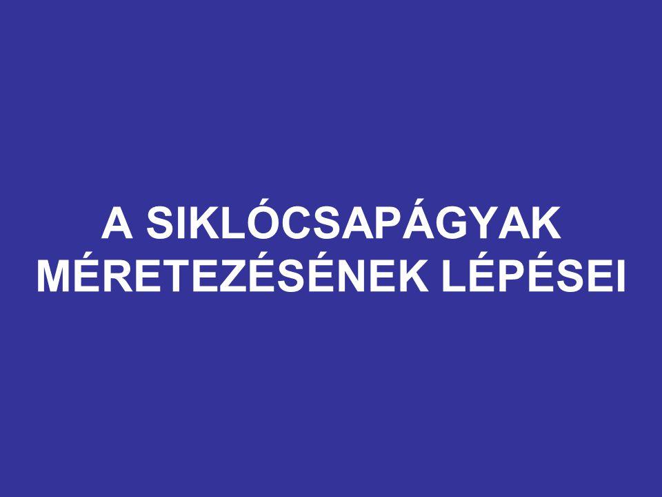 A SIKLÓCSAPÁGYAK MÉRETEZÉSÉNEK LÉPÉSEI