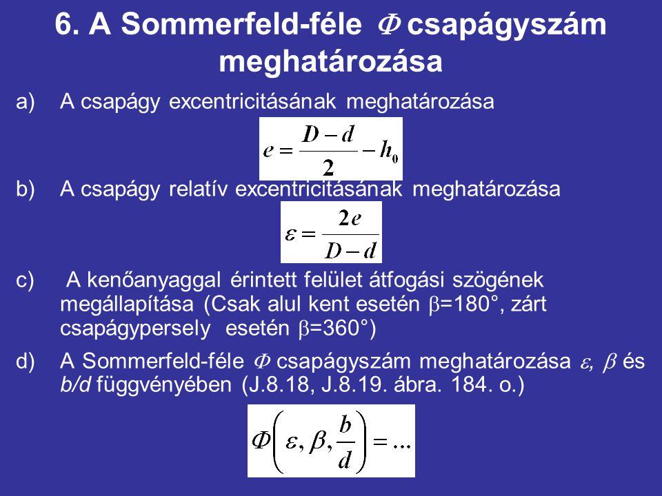 6. A Sommerfeld-féle  csapágyszám meghatározása a)A csapágy excentricitásának meghatározása b)A csapágy relatív excentricitásának meghatározása c) A
