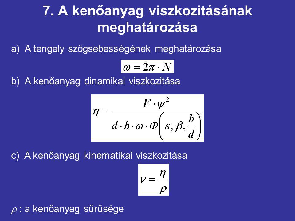 7. A kenőanyag viszkozitásának meghatározása b) A kenőanyag dinamikai viszkozitása a) A tengely szögsebességének meghatározása c) A kenőanyag kinemati