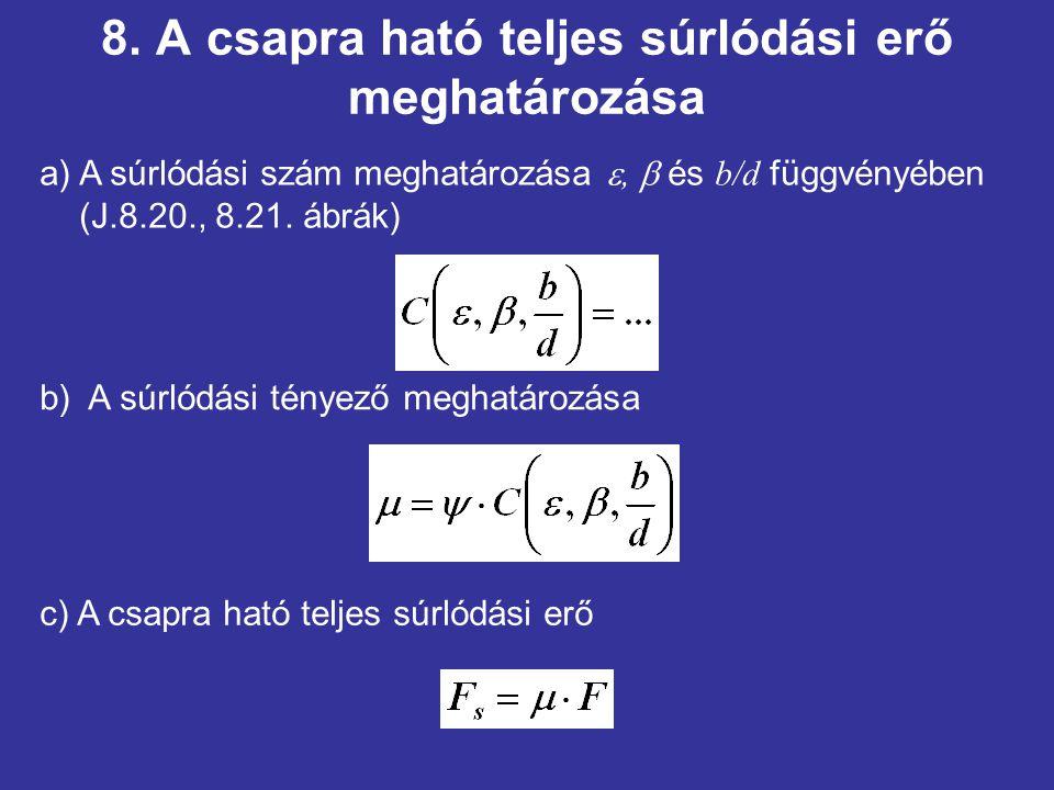 8. A csapra ható teljes súrlódási erő meghatározása b) A súrlódási tényező meghatározása a) A súrlódási szám meghatározása ,  és b/d függvényében (J