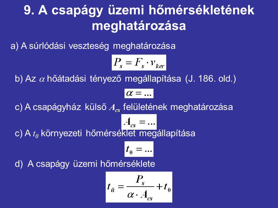9. A csapágy üzemi hőmérsékletének meghatározása d) A csapágy üzemi hőmérséklete a) A súrlódási veszteség meghatározása b) Az  hőátadási tényező megá