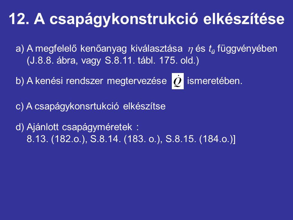 12. A csapágykonstrukció elkészítése a) A megfelelő kenőanyag kiválasztása  és t ü függvényében (J.8.8. ábra, vagy S.8.11. tábl. 175. old.) b) A kené