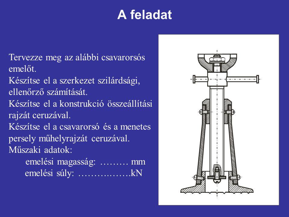 1.f. Anyagválasztás Legyen az orsó anyagának jele: 4.6