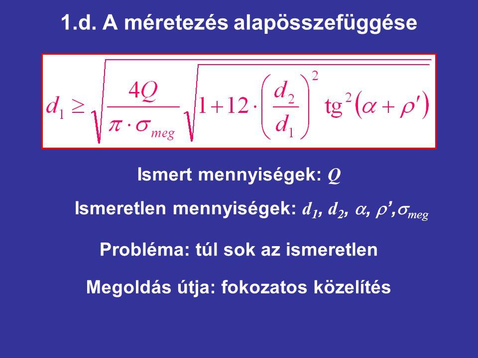 1.d. A méretezés alapösszefüggése Ismeretlen mennyiségek: d 1, d 2, ,  ',  meg Ismert mennyiségek: Q Megoldás útja: fokozatos közelítés Probléma: t