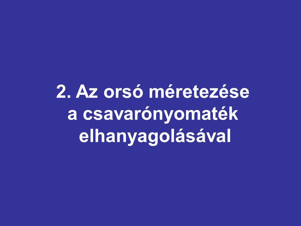 2. Az orsó méretezése a csavarónyomaték elhanyagolásával