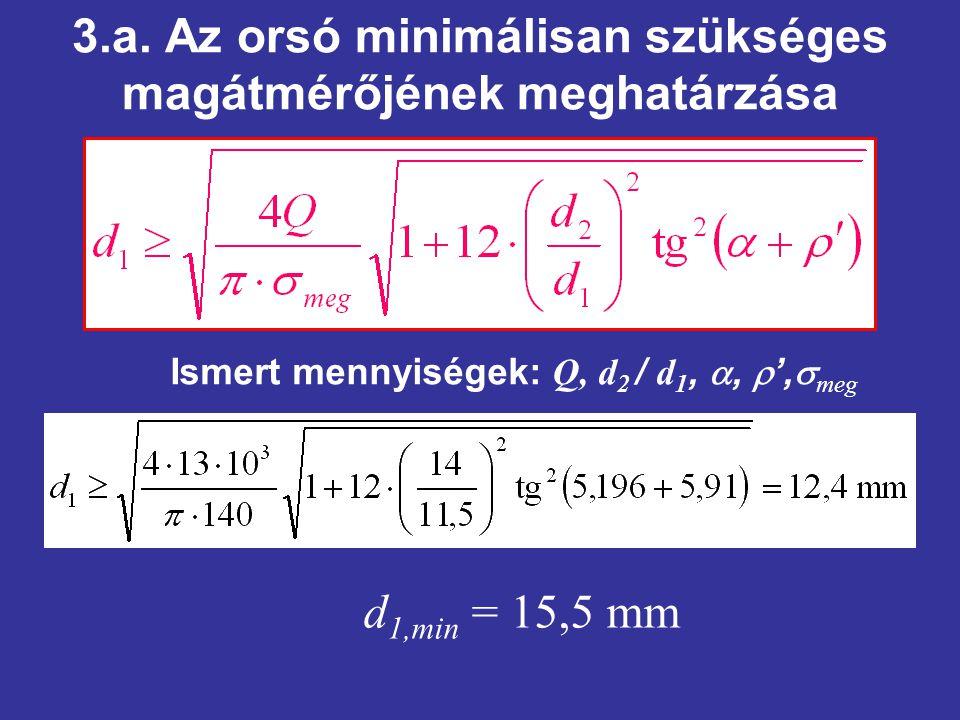 3.a. Az orsó minimálisan szükséges magátmérőjének meghatárzása Ismert mennyiségek: Q, d 2 / d 1, ,  ',  meg d 1,min = 15,5 mm