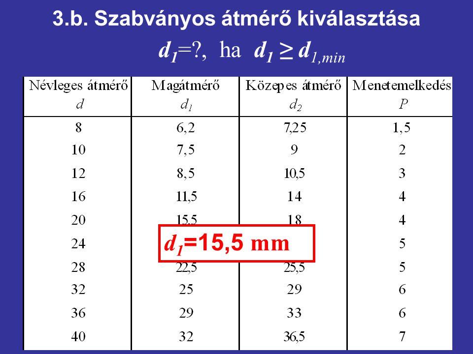 3.b. Szabványos átmérő kiválasztása d 1 =?, ha d 1 ≥ d 1,min d 1 =15,5 mm