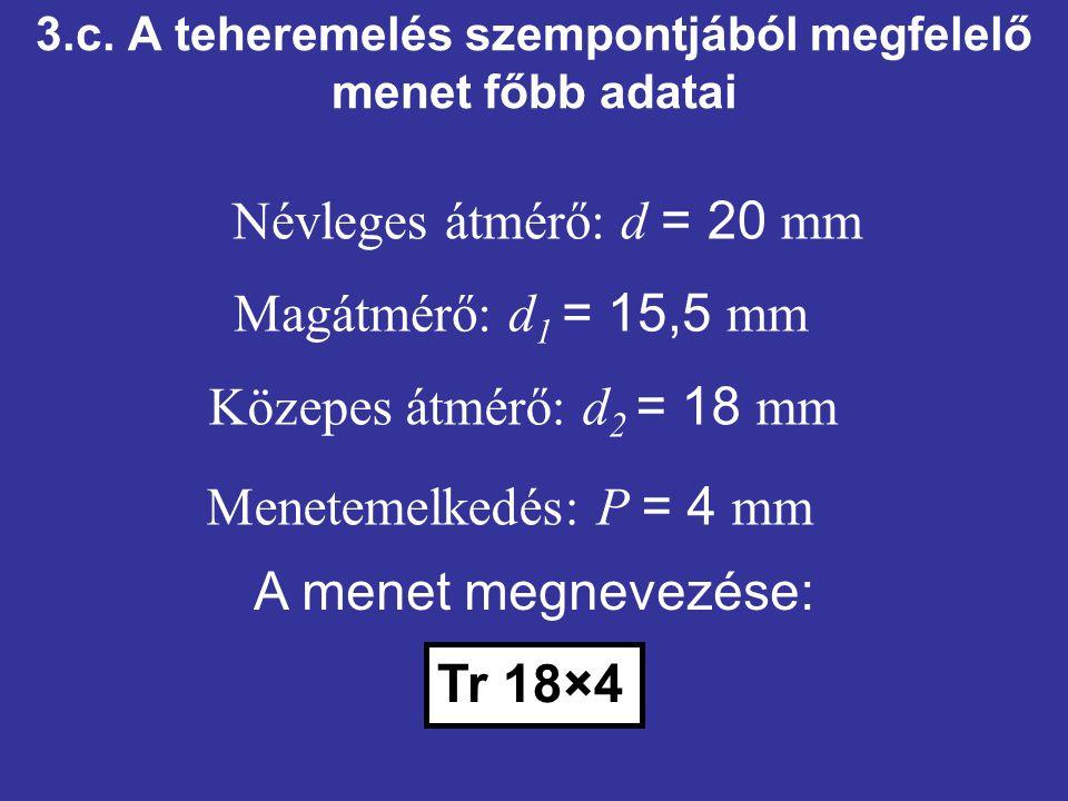 3.c. A teheremelés szempontjából megfelelő menet főbb adatai Közepes átmérő: d 2 = 18 mm Menetemelkedés: P = 4 mm Névleges átmérő: d = 20 mm Magátmérő