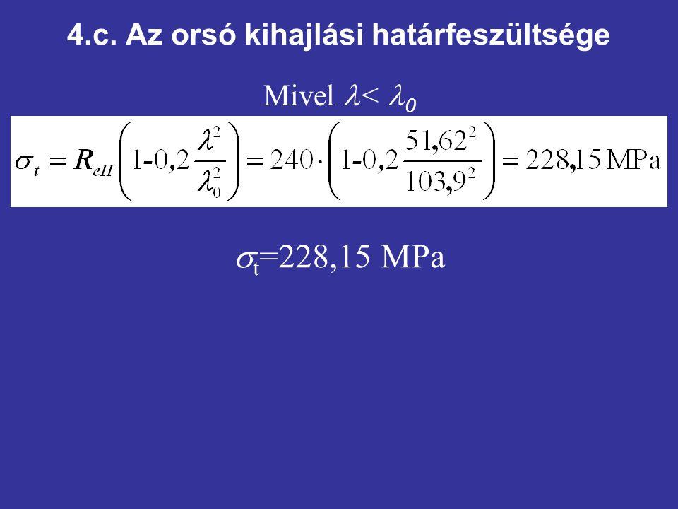 4.c. Az orsó kihajlási határfeszültsége Mivel < 0  t =228,15 MPa