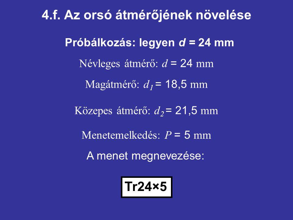 4.f. Az orsó átmérőjének növelése Próbálkozás: legyen d = 24 mm Tr24×5 Közepes átmérő: d 2 = 21,5 mm Menetemelkedés: P = 5 mm Névleges átmérő: d = 24
