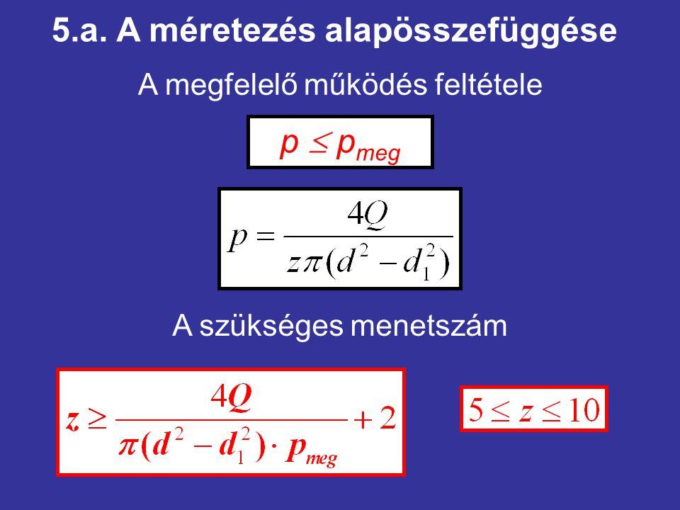 5.a. A méretezés alapösszefüggése p  p meg A megfelelő működés feltétele A szükséges menetszám